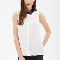 FOREVER 21 Faux Leather Collar Blouse Cream/Black