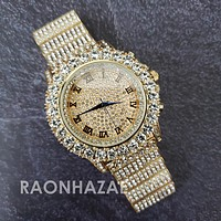 Raonhazae Hip Hop Iced Lab Diamond 14K Drake Drizzy Gold Plated Black Face Watch with Stone