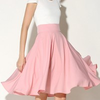 Charming Solid-Color Flared Midi Skirt
