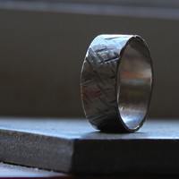 Mens Wedding Band in White Gold