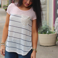 Laced in Stripes Top {Pink}