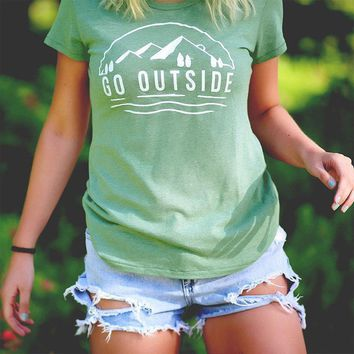 """""""Go Outside"""" Women's Graphic Tee"""