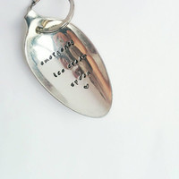 Emergency Ice Cream Spoon Keyring Keychain Hand Stamped Engraved Vintage Table Spoon