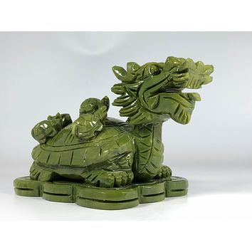Jade Lucky Carved Dragon Turtle