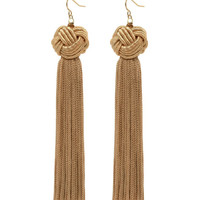 Astrid Knotted Tassel Earrings in Tan by Vanessa Mooney