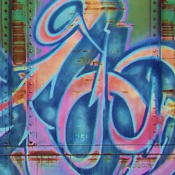 Dancing Arrows Tag Macro - Street Art Photography - Blue Pink Orange - Abstract Urban Graffiti - Industrial Style - Fine Art Photography