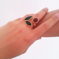 Flower Silver with gold plated handicraft Ring -ALANGOO