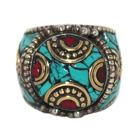 Turquoise Ring Silver Ring Coral Ring Boho ring RB101