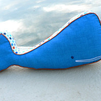 Large Organic Cotton Whale Pillow - Bright Blue and Orange