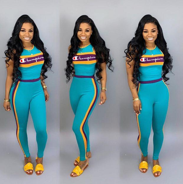 Image of Champion Fashion Casual Multicolor Pattern Letter Print Short Sleeve Set Two-Piece Sportswear