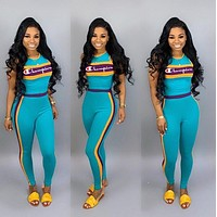 Champion Fashion Casual Multicolor Pattern Letter Print Short Sleeve Set Two-Piece Sportswear