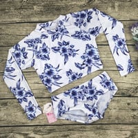 Fashion Print Long Sleeve Surf Bikini Set Swimsuit Swimwear