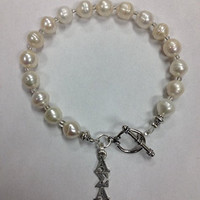 Freshwater Pearl Alpha Sigma Alpha Sorority Greek Toggle Bracelet