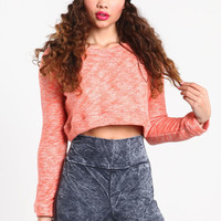 CROPPED TERRYCLOTH SWEATER