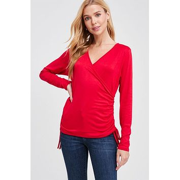 Stay Cheerful Red Long Sleeve Surplice Top
