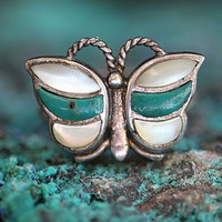 1 Butterfly Boho Ring Turquoise Mother of Pearl Sterling Silver Vintage
