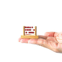 MINIATURE WOODEN ABACUS, Counting Frame with Red Beads or Counters, Dolls House Figure, Little Trinkets, Shadow Box Figurine, Display Case