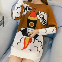 autumn winter O-Neck sweater women harajuku loose cute long rocket dress sweater Shirt Pullovers sueter mujer pull femme