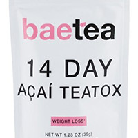 Baetea Acai Weight Loss Tea:Detox,Body Cleanse,Reduce Bloating,&Appetite Suppressant,14 Day Acai Teatox,with Acai Berry,Goji Berry,Hibiscus Flower,Ultimate Way to Calm and Cleanse Your Body (1.23oz)