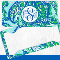 Aqua Teal Paisleys Monogram License Plate Frame Holder Metal Wall Sign Tags Personalized Custom Vanity