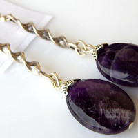 Amethyst Earrings, Gemstone Earrings, Purple Earrings, Long Earrings