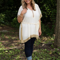 Beautiful Night Out Caftan Blouse  - Ivory