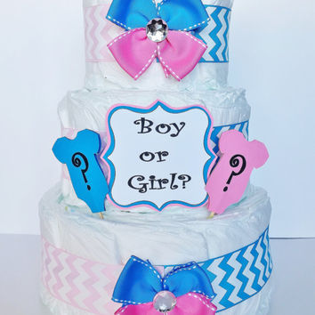 Gender Reveal Diaper Cake, Boy or Girl Baby Shower Centerpiece, Pink and Blue Baby Shower Decor, Diaper Table Centerpiece, Gender Neutral