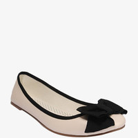 NEW - WOMENS -  BOW TRIMMED BALLET FLATS - CREAM AND BLACK - SIZE 7