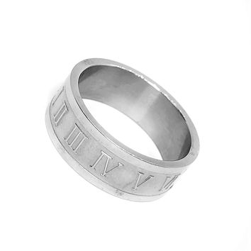 Roman Numeral Stainless Steel Ring