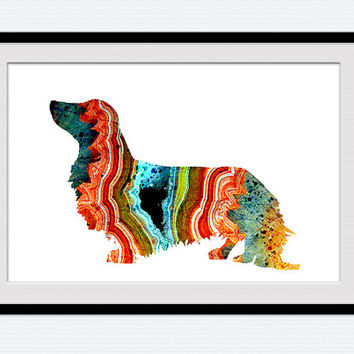 Dachshund watercolor poster Dachshund colorful print Animal watercolor print Dog poster Dog print Home decoration Kids room wall decor W429