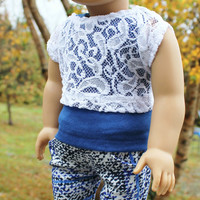 3 piece set!!! blue tank top, lace off the shoulder tee and blue, white, black stretchy  jeggings 18 inch doll clothes