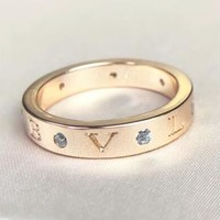 Bvlgari New fashion letter diamond personality ring Rose Gold