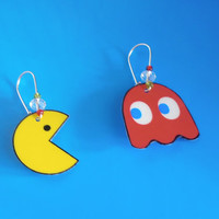 Vintage Video Games Pac Man Super Mario Bros Monopoly Scull Earrings Laminated Handmade Jewelry YOUR CHOICE from 5 types