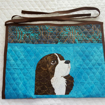 Tricolour Cavalier King Charles Spaniels Dog Apron for Dog Agility, Dog Obedience, Gardening Apron - Appliqued Quilted in blue and brown