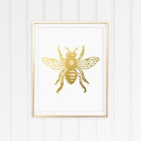 Faux Gold Foil Bee Art Print. Modern Home Decor. Office Art. Minimalist Art Print. Chic. Trendy. Insect Art.