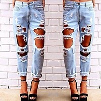 Fashion Womens Destroyed Jeans Ripped Distressed Denim Pants Hole Boyfriend Jeans Long Pencil Trousers