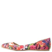 Tropical Floral Print D'Orsay Flats by Charlotte Russe