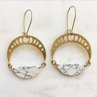 Moon Phase Brass Earrings with White Howlite Marble Half