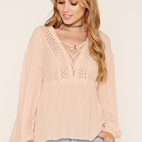 Crochet Panel Lace-Up Top