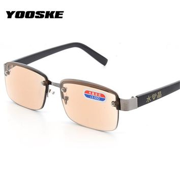 YOOSKE Rimless Classic Style Glass Lenses Reading Glasses Plain Mirror Men Women Unisex Eyewear