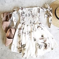 Reverse - Pretty Little Thing Romper in White Rose Print
