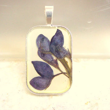 Texas Bluebonnet Real Pressed Flower Silver Plated Pendant