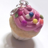 Vanilla Cupcake with Pink Icing and Sprinkles Charm, Polymer Clay, Food Charms