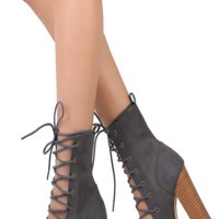 Bell Open Toe Lace Up Anklen Booties - Charcoal