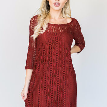 Red Lace Lined Dress