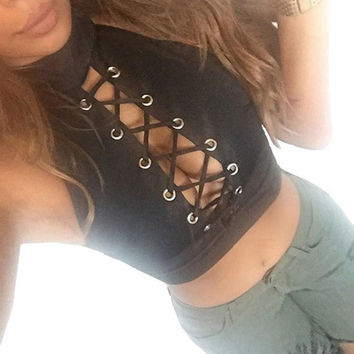 Sexy Women Ladies Round Neck Sleeveless Cropped Tanks Tops Tee Shirt Camis Cute Bodycon Bandage Crop Tops Camisole