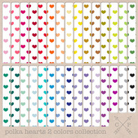 Polka Hearts Digital Paper Pack 2 in all rainbow colors. Great for blog backgrounds or for scrapbooking and paper/card crafting needs