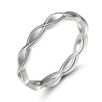 EAMTI 925 Sterling Silver Celtic Knot Ring Simple Criss Cross Infinity Wedding Band for Women Size 4-12 Silver-Knot