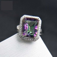 Classic Rainbow Fire Mystic Coated Quartz 9*11 Simple and Elegant Gemstone Ring