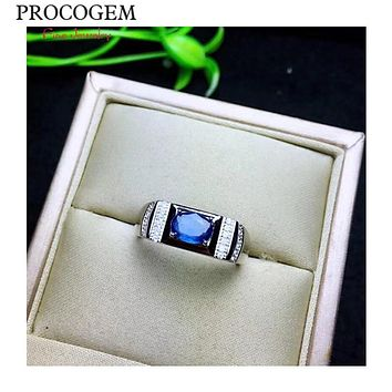 Natural Srilanka Sapphire Rings for Men gifts 5x7mm 1.0Ct Genuine blue gems New fine Engagement Jewelry 925 Solid  silver  #629
